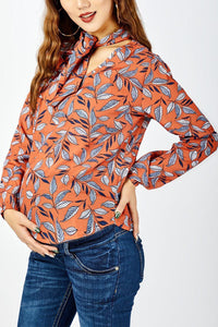 Floral Printed Lace Up Collar Long Sleeve Shirts