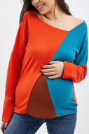 Maternity Asymmetric Neck  Patchwork  Contrast Stitching T-Shirts