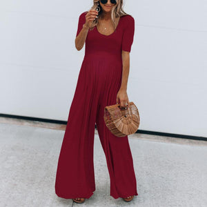 Maternity Solid Color Short Sleeve Wide Leg Jumpsuit