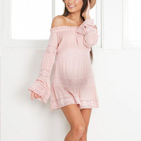 Maternity Lace Splicing Off-The-Shoulder Long Sleeved Dress