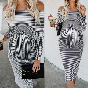 Maternity Lace-Up Shoulder Long Sleeve Dress