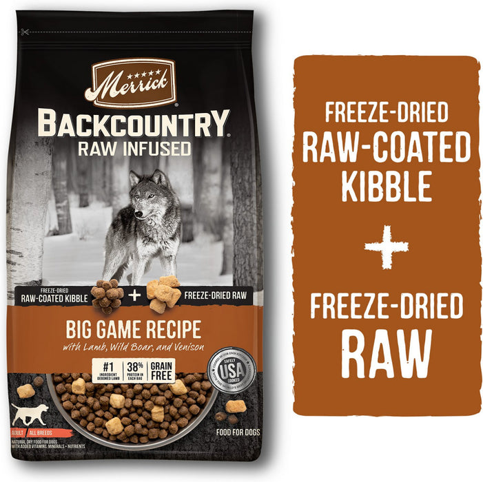 Merrick Backcountry Raw Infused Grain Free Big Game Recipe Dry Dog Food