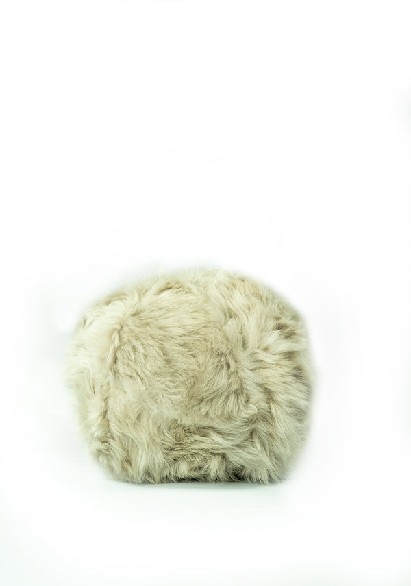 FUR SNOWBALL PEARL GREY PILLOW