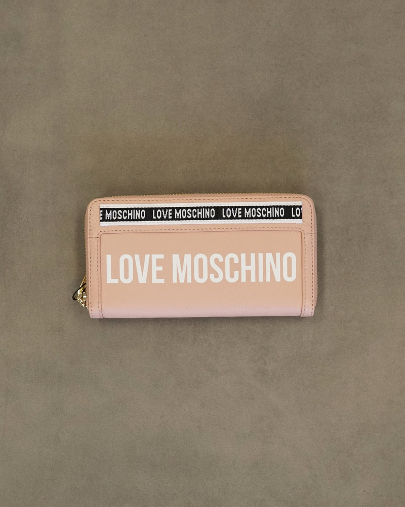 Leather Logo Zip Wallet
