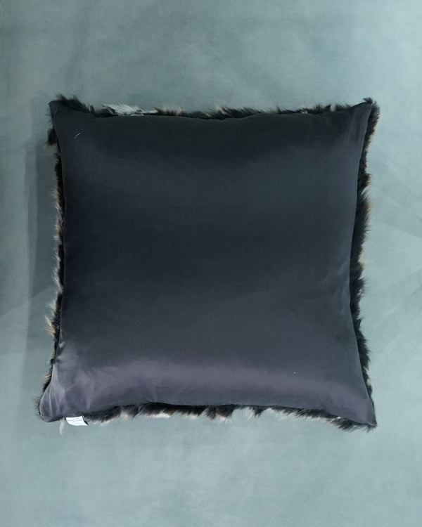 SQUARE FUR SILK LINED PILLOW