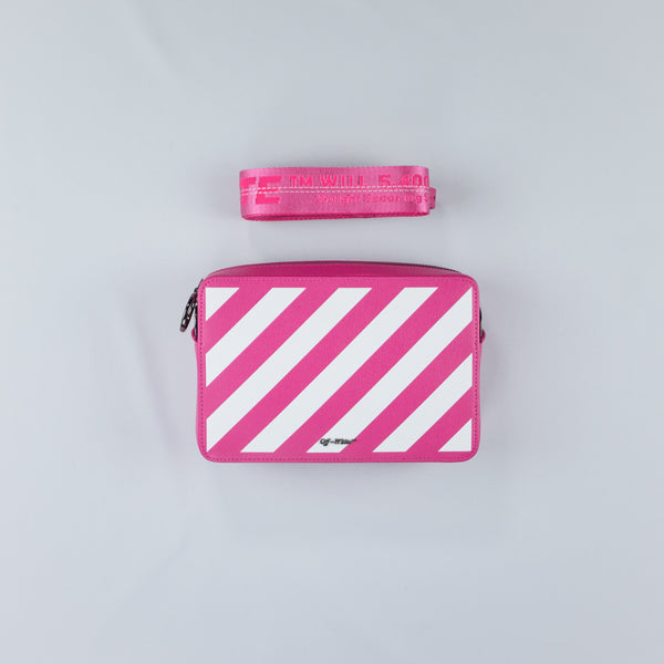 Pink Leather Diagonal Striped Belt Bag