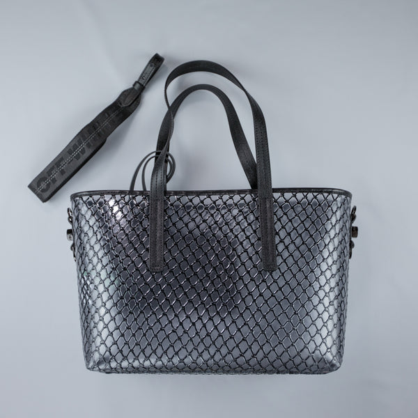 Black Netted PVC Leather Trim Tote Bag