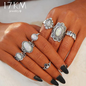 Design Vintage Opal Knuckle Rings Set - Junitas Online Store