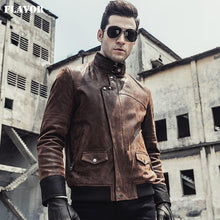 Load image into Gallery viewer, Men's leather motorcycle Jacket - Junitas Online Store