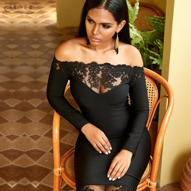 Slash Neck Celebrity Party Dress Elegant Off Shoulder Lace Bodycon - Junitas Online Store