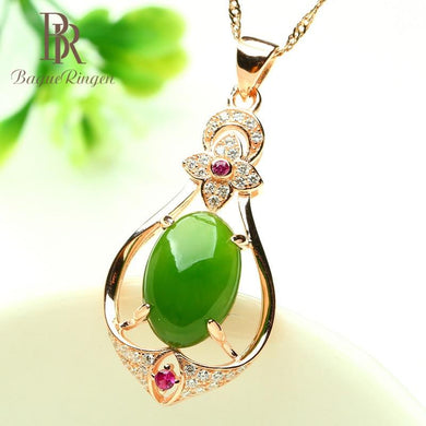 Sterling Silver 925 Necklaces For Women with oval shape green Jade - Junitas Online Store