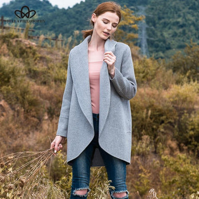 100% Wool Blends Long Sleeve, Cashmere Coat - Junitas Online Store