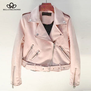 Women coat jacket zipper turn-down collar