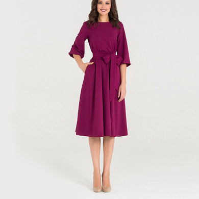 Women's Elegant Solid Dress Lantern Sleeve - Junitas Online Store