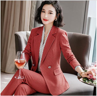 Fashion temperament stripes pants suits