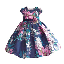 Load image into Gallery viewer, Floral Girls Dress Blue Party - Junitas Online Store