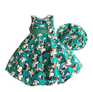 Girls Dress with Sunhat Flower Print 3-8T - Junitas Online Store
