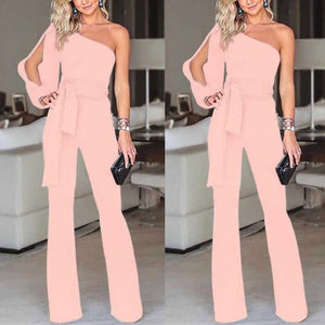 One Shoulder Long Sleeves Jumpsuit - Junitas Online Store