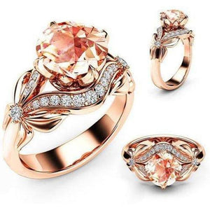GOLD ROSE Rhinestone WEDDING RINGS, with Hollow Butterfly - Junitas Online Store