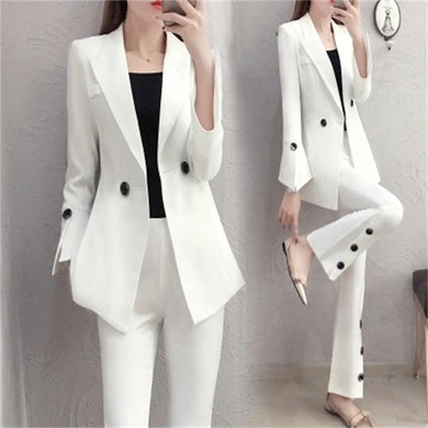 NEW elegant fashion Slim white blazer suit two pieces sets - JUNITAS ONLINE STORE