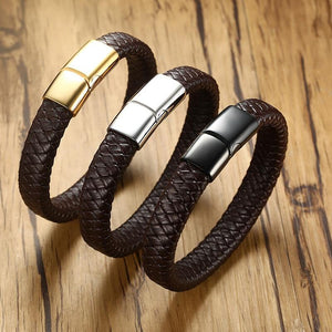 12mm Real Leather Bracelet For Men Women - Junitas Online Store