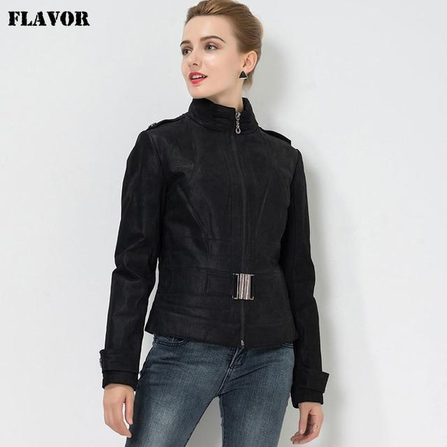 Women's Pigskin biker slim Real leather - Junitas Online Store
