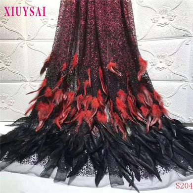 Wedding dress fabric feather sequins embroidered French mesh tulle Nigeria lace - Junitas Online Store