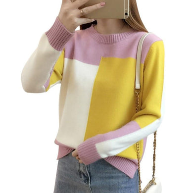 Contrast Color Knitted Sweater - Junitas Online Store