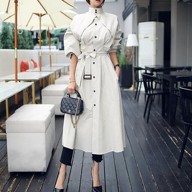 High quality women fashion comfortable loose a-line trench coat- JUNITAS ONLINE STORE