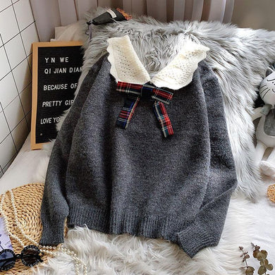 Plaid Bow Doll Collar Sweater - Junitas Online Store