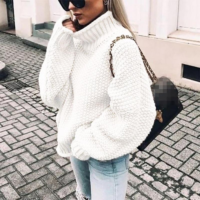 Plus Size Knitted Turtleneck Sweater - Junitas Online Store