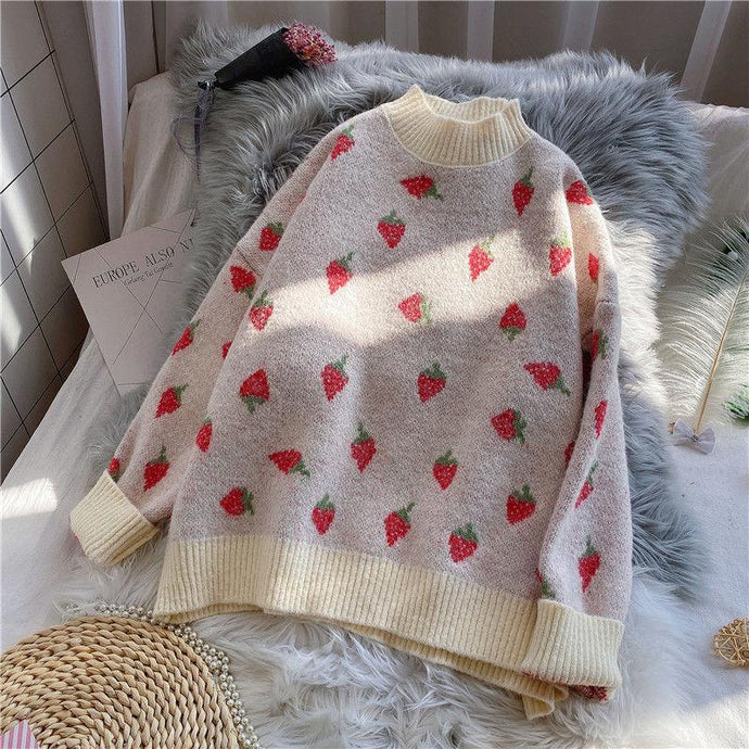 Strawberry Embroidery Sweater - Junitas Online Store