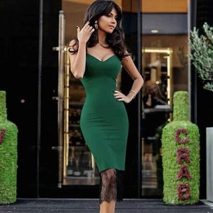 Summer Green Lace Spaghetti Dress - Junitas Online Store