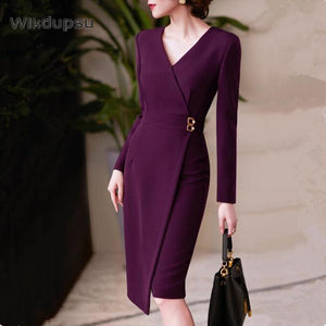 V Neck Office Dresses 2021 - Junitas Online Store