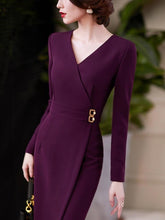 Load image into Gallery viewer, V Neck Office Dresses 2021 - Junitas Online Store