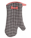 Brown and  Creme Houndstooth Oven Mitt