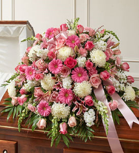 Pink & White Casket Spray
