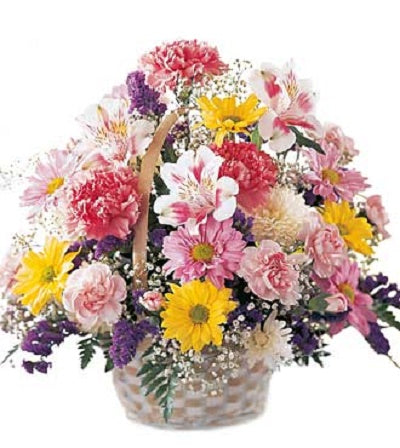 basket, spring, daisies, carnations, pink, yellow, purple, baby's breath