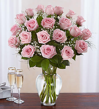 a vase of two dozen pink roses, 24 pink roses