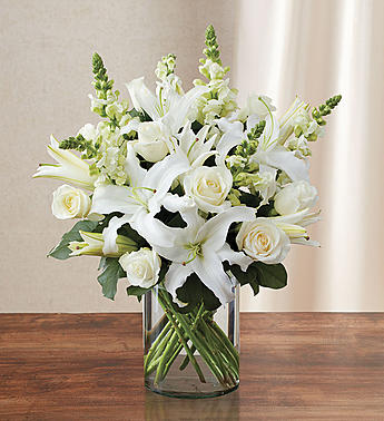 cylinder vase white roses white lilies white snaps