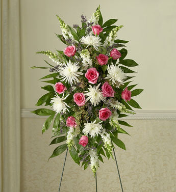 standing spray, pink roses, white mums, white snaps