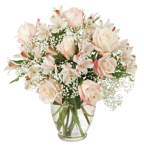 urn vase with pink roses, white alstroemeria baby's breath