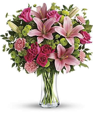 gorgeous arrangement of lilies, roses, mums, carnations