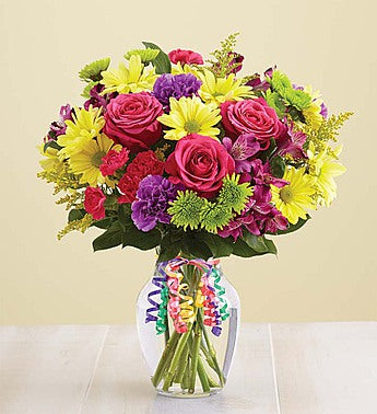 perfect birthday arrangement, our brightly colored flowers are roses, daisies, carnations, and more.