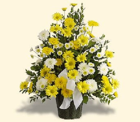 White and yellow daisy spray Chrysanthemums, daisy poms, assorted greens and more