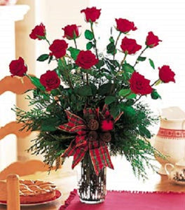 long stem dozen roses arranged in a vase will add to any holiday festivities.