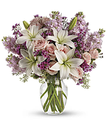 vase, white lilies, lavender stock, waxflower, pink roses