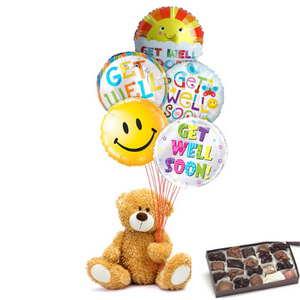Balloons, mylars, get well, teddy bear, candy