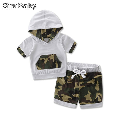Adorable Baby Boy Clothing Camouflage Short Sleeve Hoodie Set
