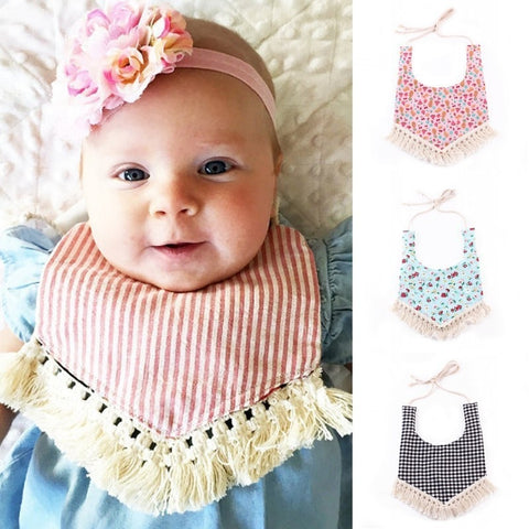 Cotton Baby Bibs Pastoral Style With Tassels